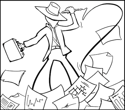 Black and white cartoon of an adventurous figure in a broad-brimmed hat, who wields a fountain pen with a long plume of ink as a whip. Pages of charts and graphs flutter around the figure's feet.